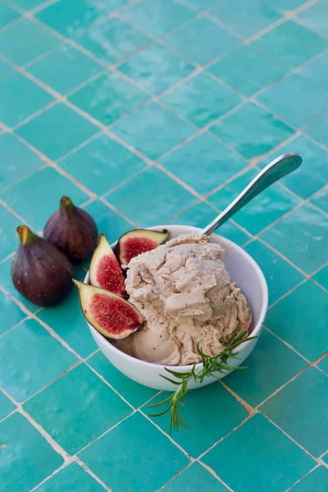 Fresh Fig Ice Cream Made with Coconut Milk, Honey and Rosemary