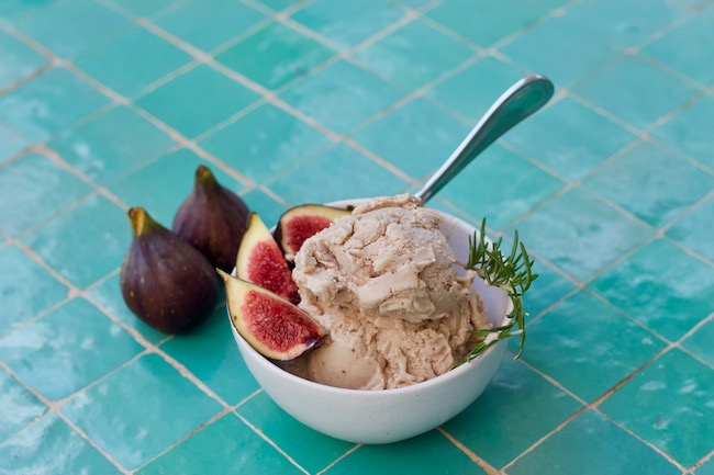bowl of fresh fig ice cream with garnish